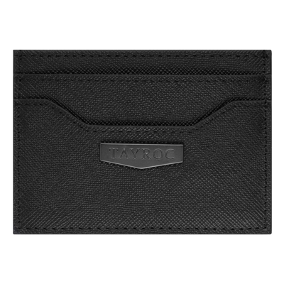 Brent by Tayroc is a textured leather card holder wallet in black, featuring edge stitching, embossed Tayroc logo tag all in a slim design.