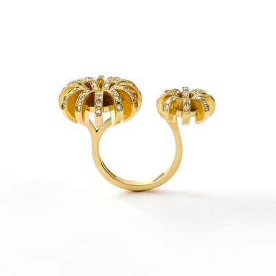Double Flower Ring 18kt Gold & Diamonds- Unique Open Ring Design