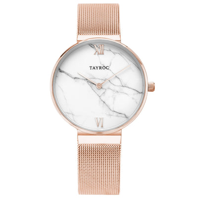 Reva. Classy, couture. A rose gold and white marble watch. Front View.