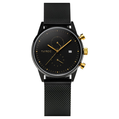 TXM087. Sleek black watch with gold accents and black mesh strap