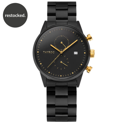 TXM126 is the killer design, a matte black watch punctuated with flashes of gold to create an eye catching finish. Front View.