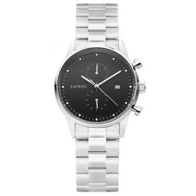 TXM128. A classic with silver bracelet and casing contrasting with the jet black dial for an impressive timepiece.