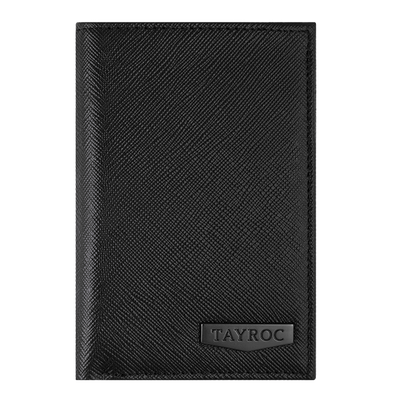 Trent by Tayroc. A black leather bifold wallet, featuring edge stitching and embossed Tayroc logo on a steel tag in a slender design. Front View