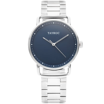Tayroc Mayfair, a silver designer watch for men, featuring a blue dial and silver accents
