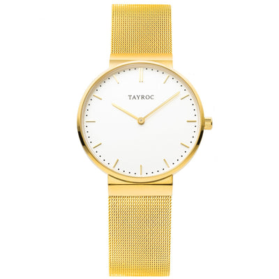 A polished white dial set into luxurious gold, Tal is an elegant gold womens watch for the fashion-forward. Front view.