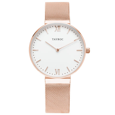 Tayroc Breeze rose gold watch for women with sapphire coated lens white face and rose gold meshband Strap