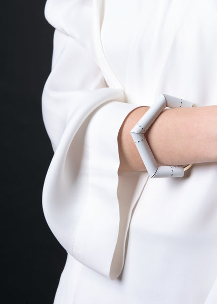Axle cuff in white perforated leather  | Knobbly Studio