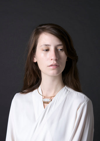 Tiered choker in white perforated leather  | Knobbly Studio | Photo by Aya Wind