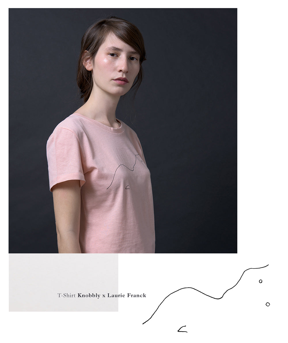 A tee produced in collaboration between Knobbly Studio and French photographer/tattoo artist Laurie Franck, featuring Laurie's minimalist woman illustration. Available in pink on knobblystudio.com.