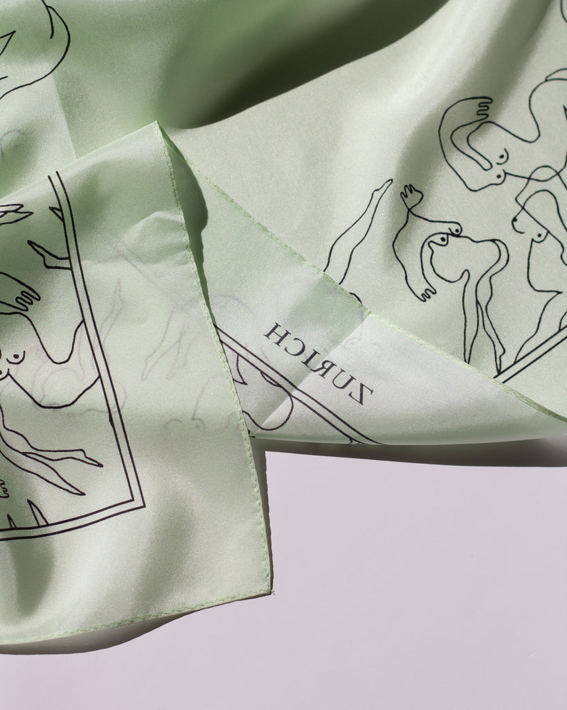 Mermaids Silk Scarf in Dewy Green