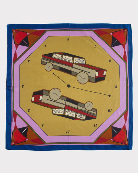 Cars & Clocks Silk Scarf