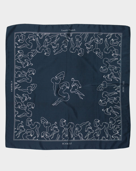Mermaids Silk Scarf in Ink
