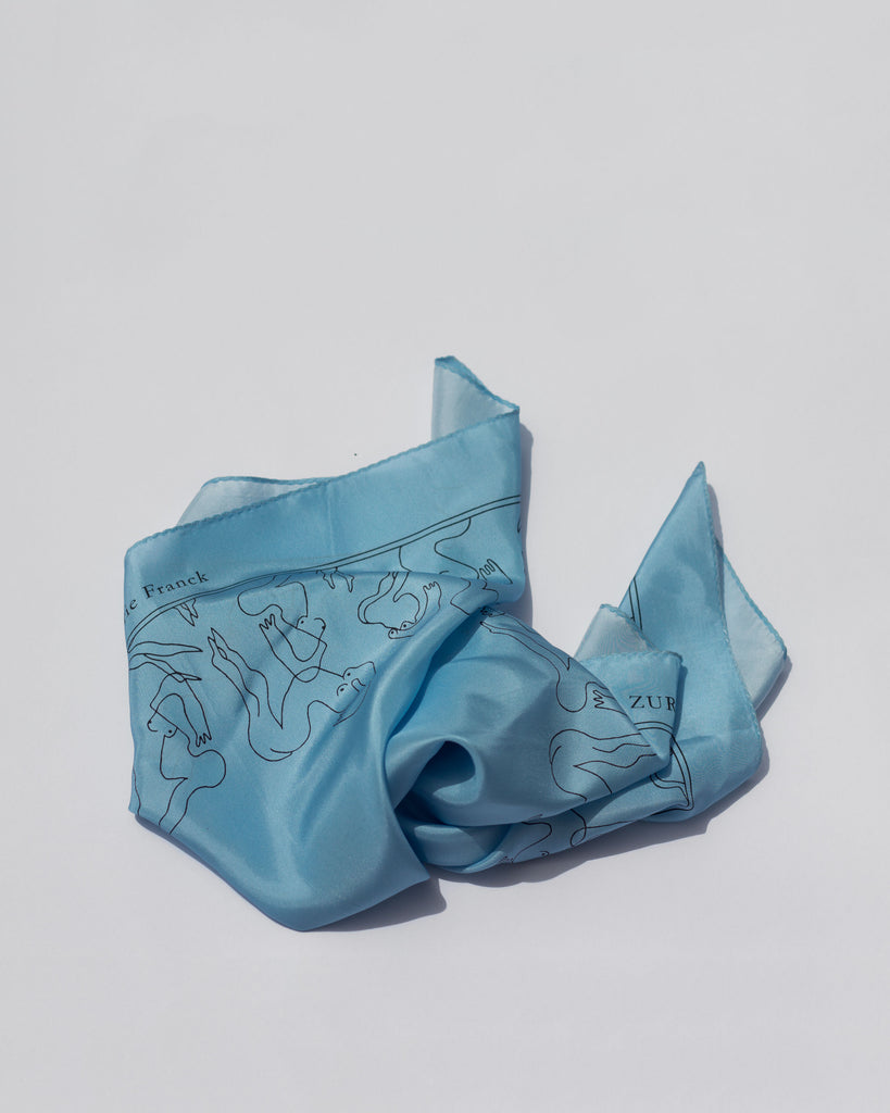 Mermaids Silk Scarf in Sky