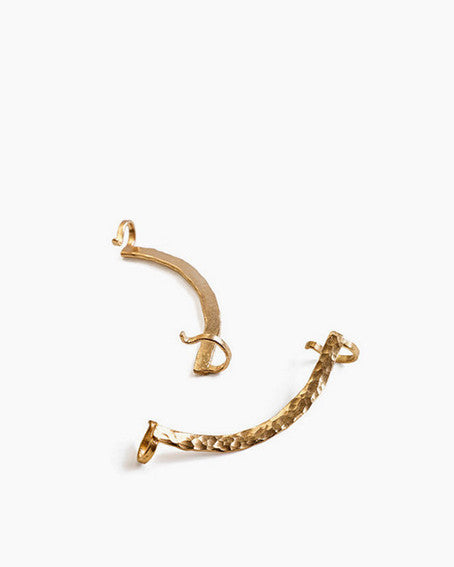 Minimalist ear cuff with hammered texture | Knobbly Studio