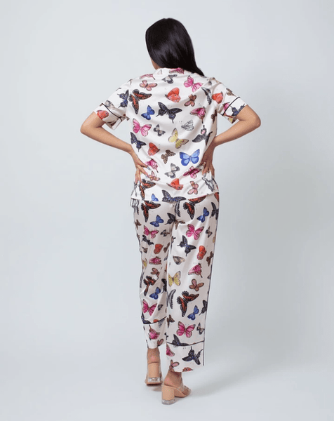 Butterfly Satin PJs Short Sleeve 14014 Multicolour
