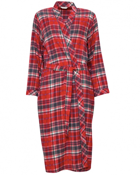 Belle Plaid Robe C-4257 Red