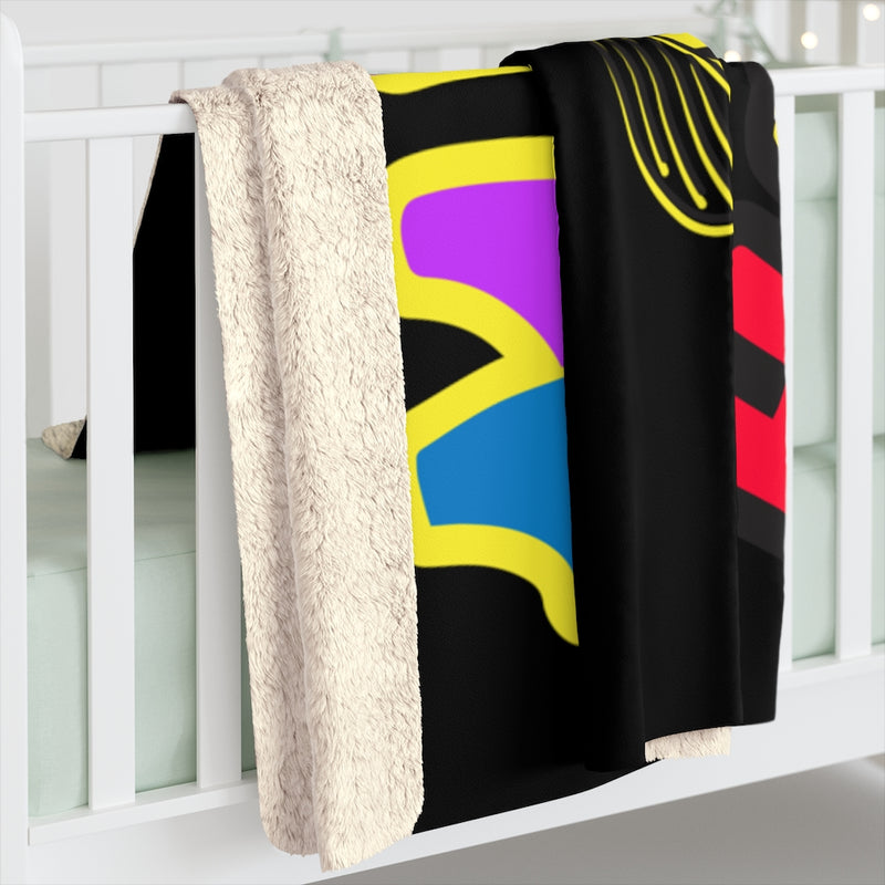 Black - Sherpa Fleece Blanket JBH Multi-Color