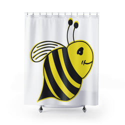 White Shower Curtains - Bee