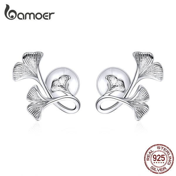bamoer Silver 925 Design Ginkgo Leaf Stud Earrings for Women Real Sterling Silver Luxury Brand Jewelry Pendiente New BSE328