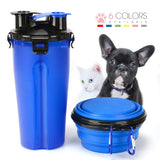 2 in 1 Cat Water Bottle Food Container With Folding Silicone - caturdayco