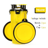 2 in 1 Cat Water Bottle Food Container With Folding Silicone