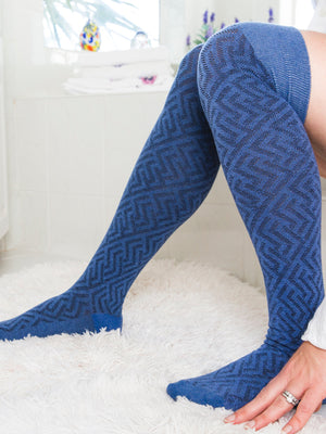 blue and black over the knee sock