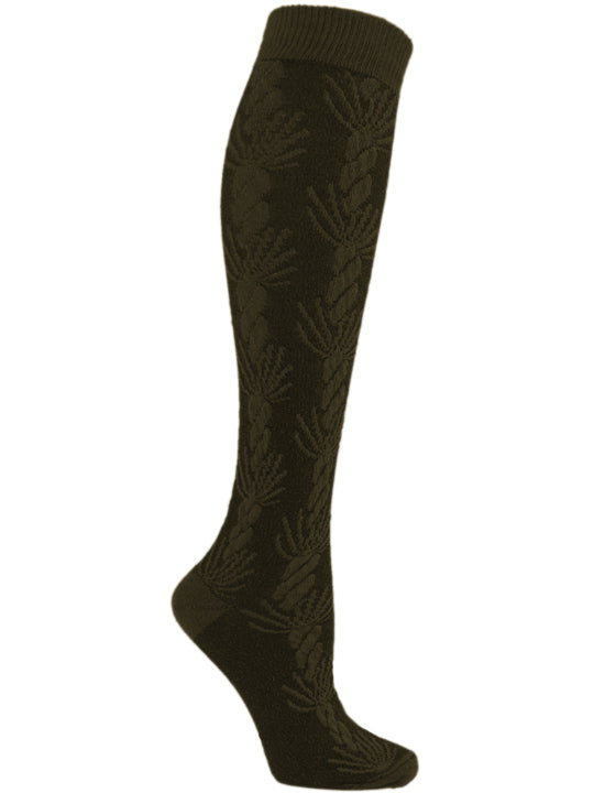 Asherah Olive Cable Knit Texture Knee High
