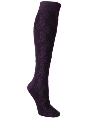 Asherah Plum Cable Knit Texture Knee High