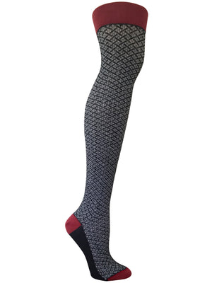 black and white over the knee texture sock with a red top, toe, and heel