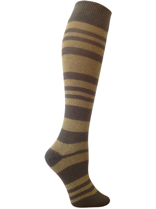 earthy green and golden straw yellow striped knee high sock