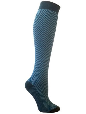 Elizabeth Herringbone Teal Knee High