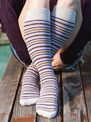 purple striped fair isle knee high