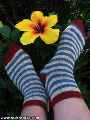 Blue, Yellow and Red Striped Ankle Sock