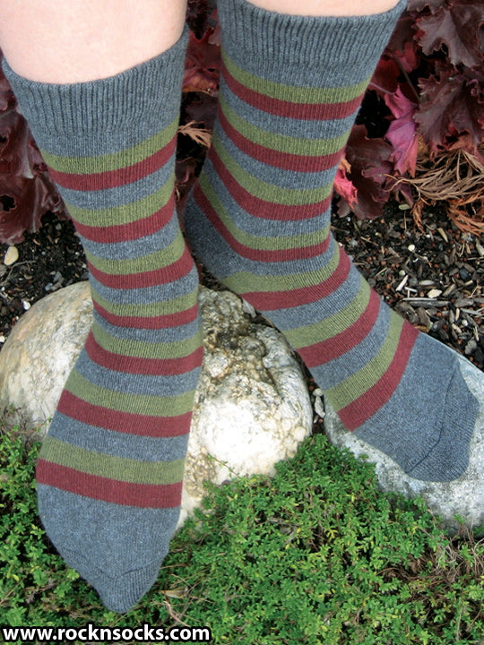 Grey, Burgundy and Green Striped Crew Socks