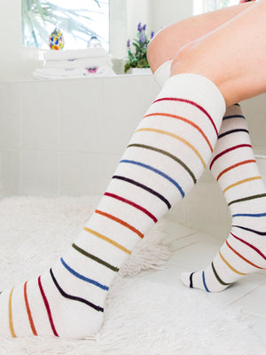 white light rainbow stripe knee high