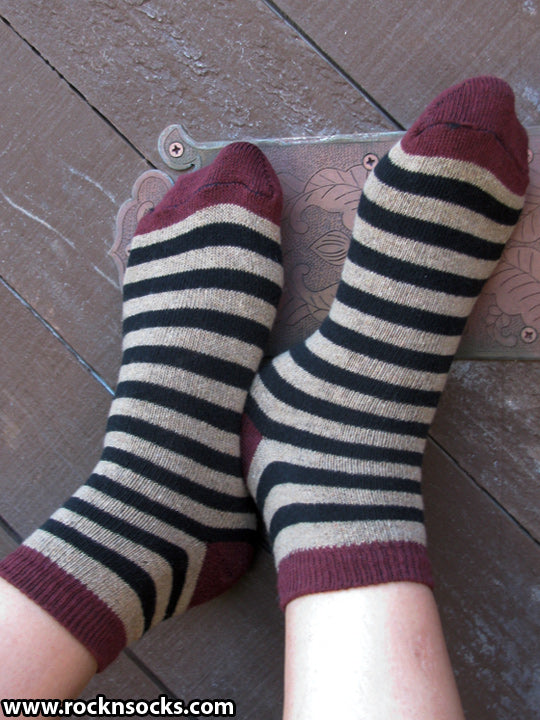 Black, Tan and Red Striped Ankle Socks
