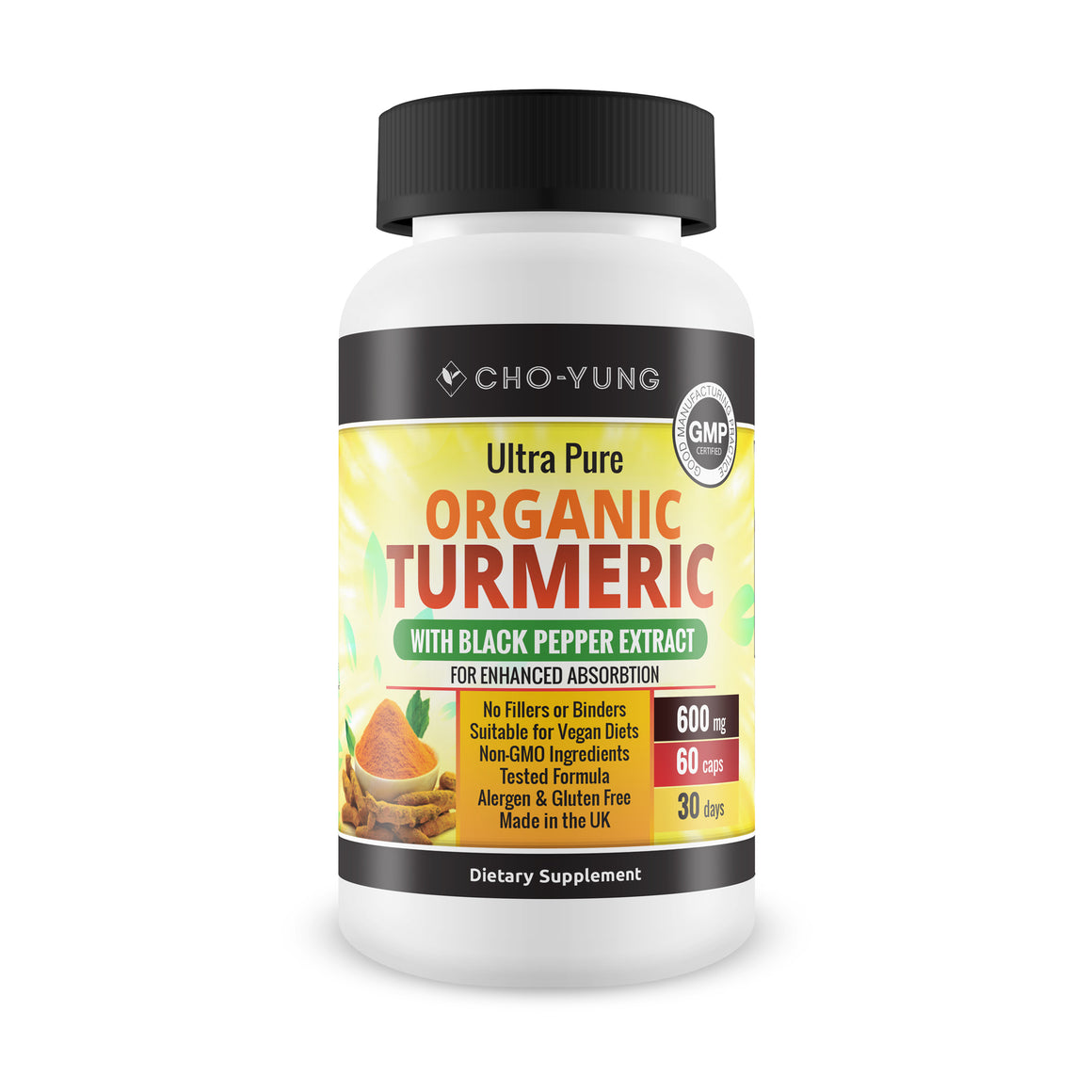 Cho-Yung Daily Organic Turmeric 95% Curcumin & Black Pepper Extract 500mg
