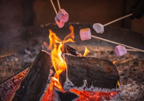 A campfire at night with red embers and light orange flames. Sticks with marshmallows skewered on them are held over the flames, turning toasty brown and almost ready to devour.