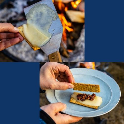 Two photos in a collage. One shows a perfectly melted slice of white aged cheddar sliding off a metal spatula onto a fresh crisp cracker. The second photo shows a cheese & bacon jam s'more with melted cheese and a generous dollop of birch bacon jam by the Canadian Birch Company and a pair of hands placing the top cracker on to complete the yummy treat.