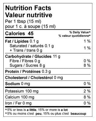 pure gold birch syrup nutrition label information