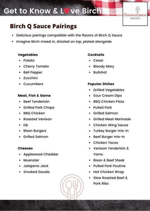 Load image into Gallery viewer, Birch Q Sauce Pairing card with delicious suggestions on what foods to use with your Birch Q Sauce, including suggestions for veggies, Meats, Cheeses, Cocktails and popular dishes.