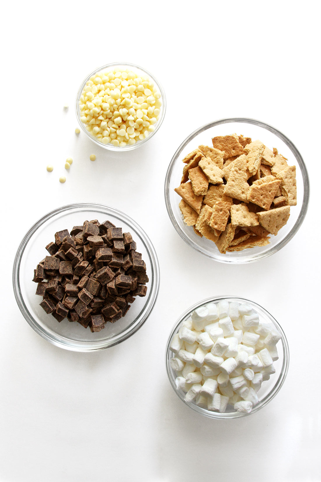 Image of four bowls with ingredients for Miss Jones Baking Co Campfire Smores Brownies Recipe