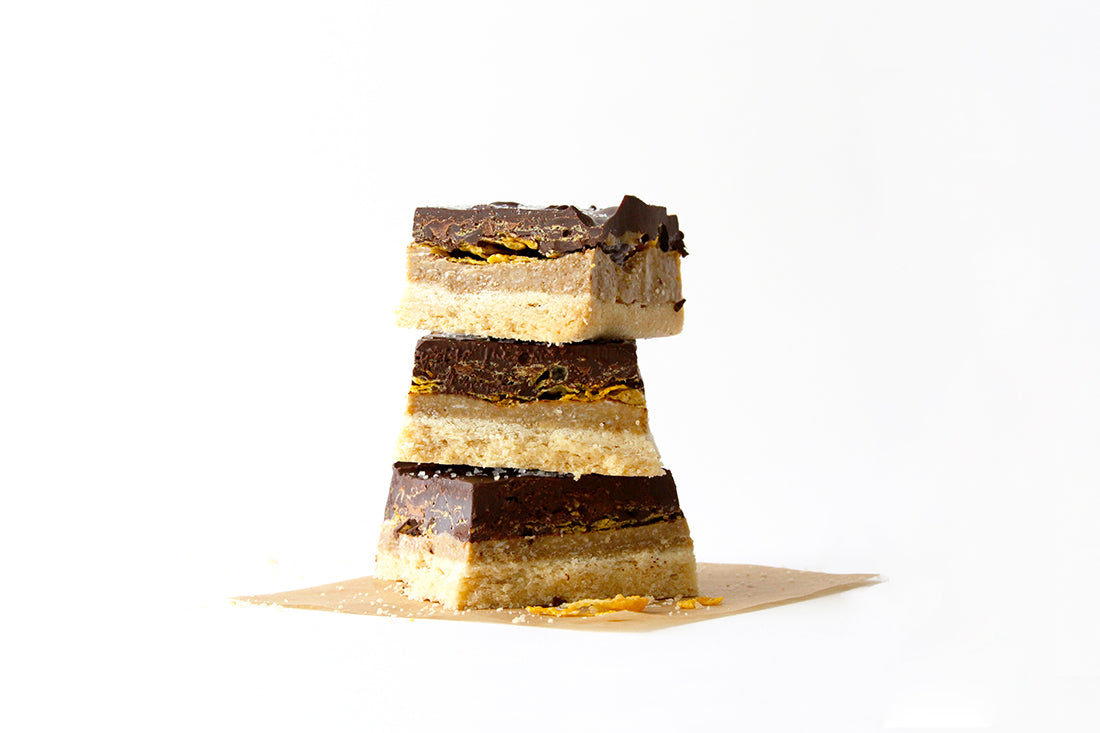 Stack of three Miss Jones Baking Co Cash Money Millionaire Bars