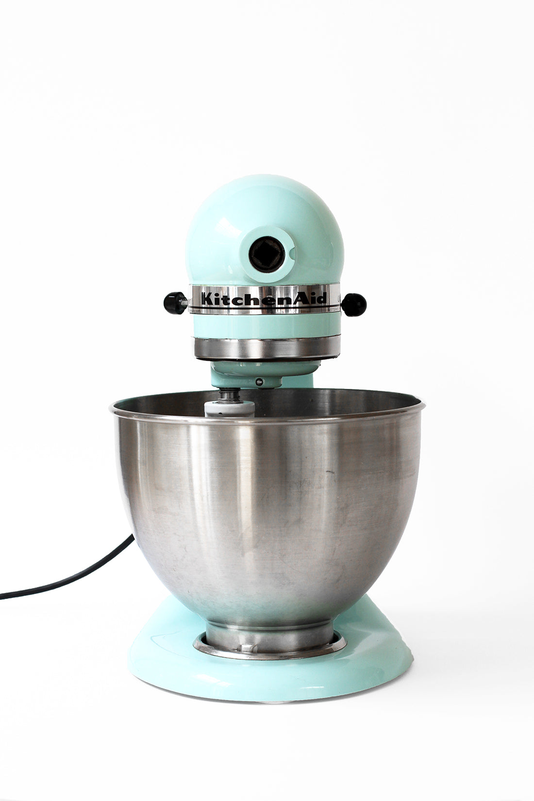 A blue KitchenAid® Artisan Stand Mixer used for mixing Miss Jones Baking Co Chocolate Chip Brownie Skillet