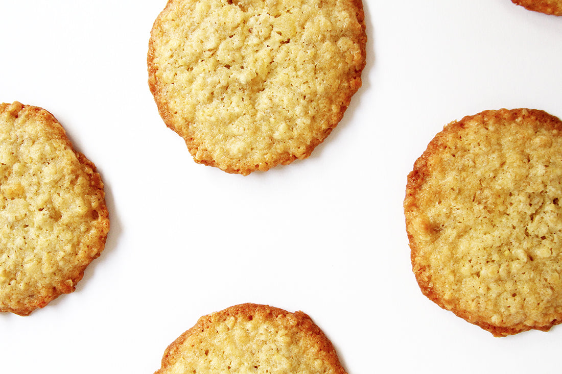 Image of part of four Miss Jones Baking Co Ginger Oatmeal Drop Cookies from above