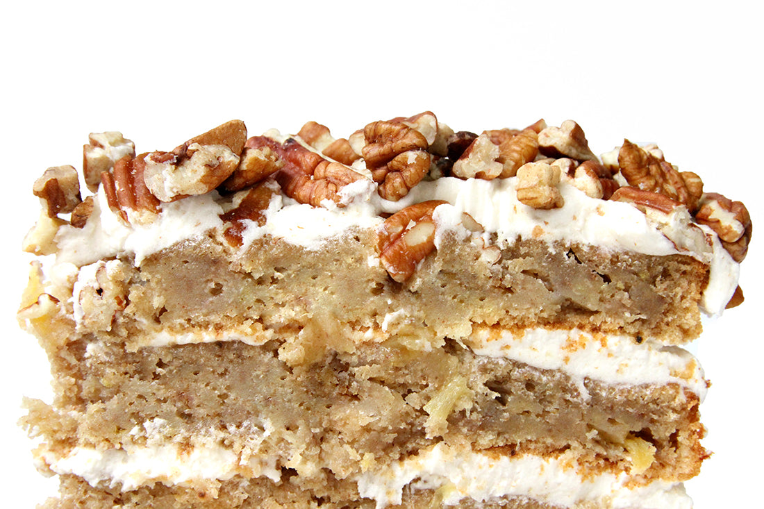 Close up image of inside of Miss Jones Baking Co Classic Hummingbird Cake