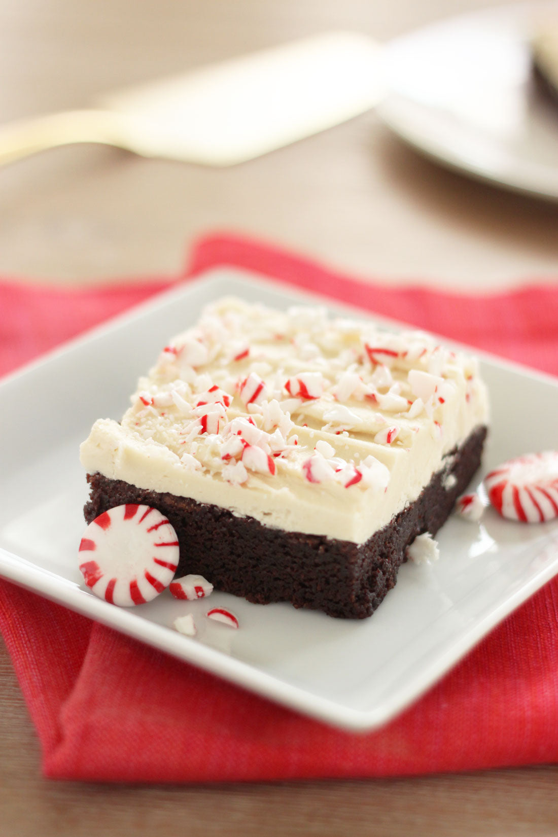 Image of side of finished Miss Jones Baking Co Super Chewy Chocolatey Peppermint Bark Brownie
