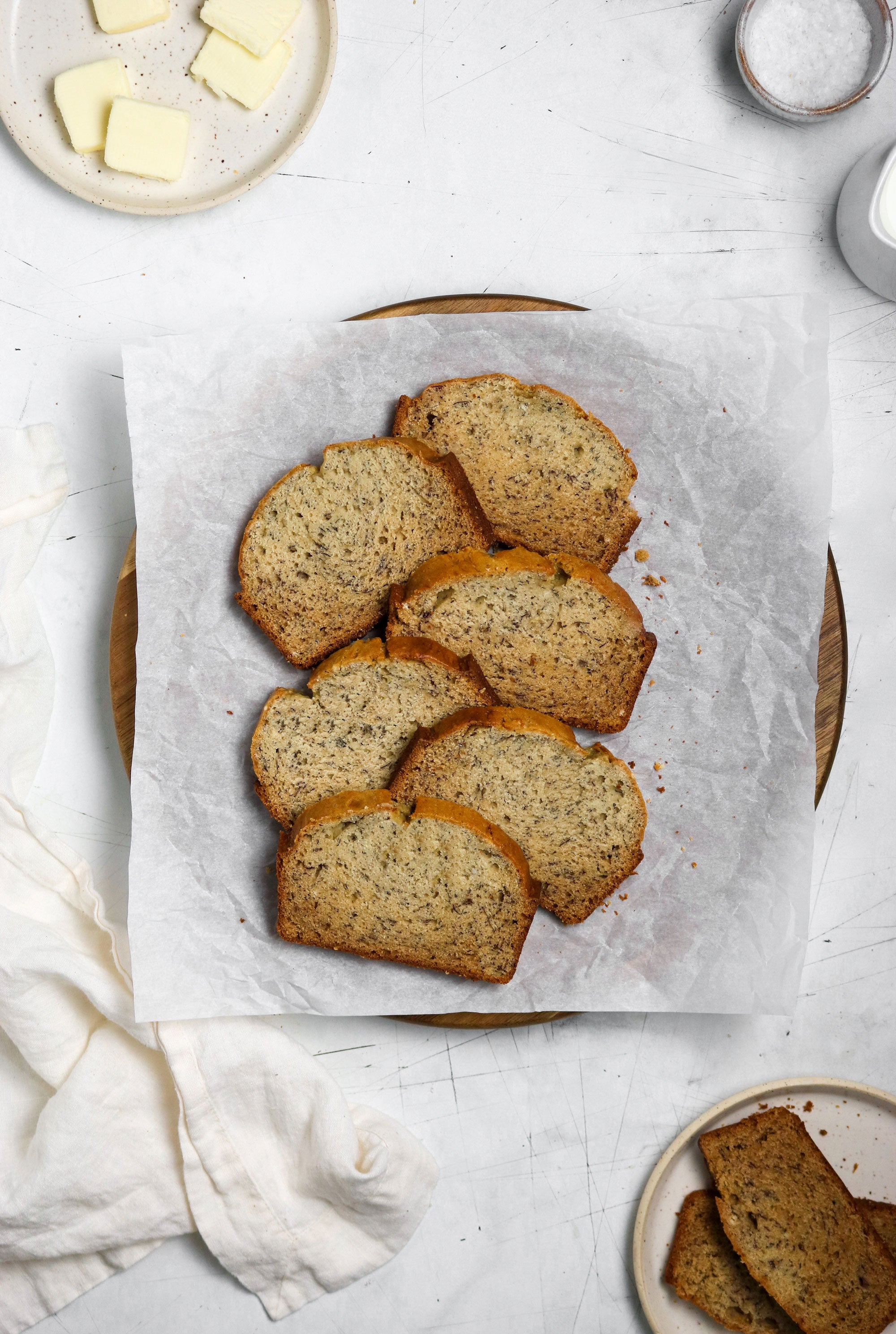 Image from above of a basket with six pieces of Miss Jones Baking Co SmartSugar Original Banana Bread