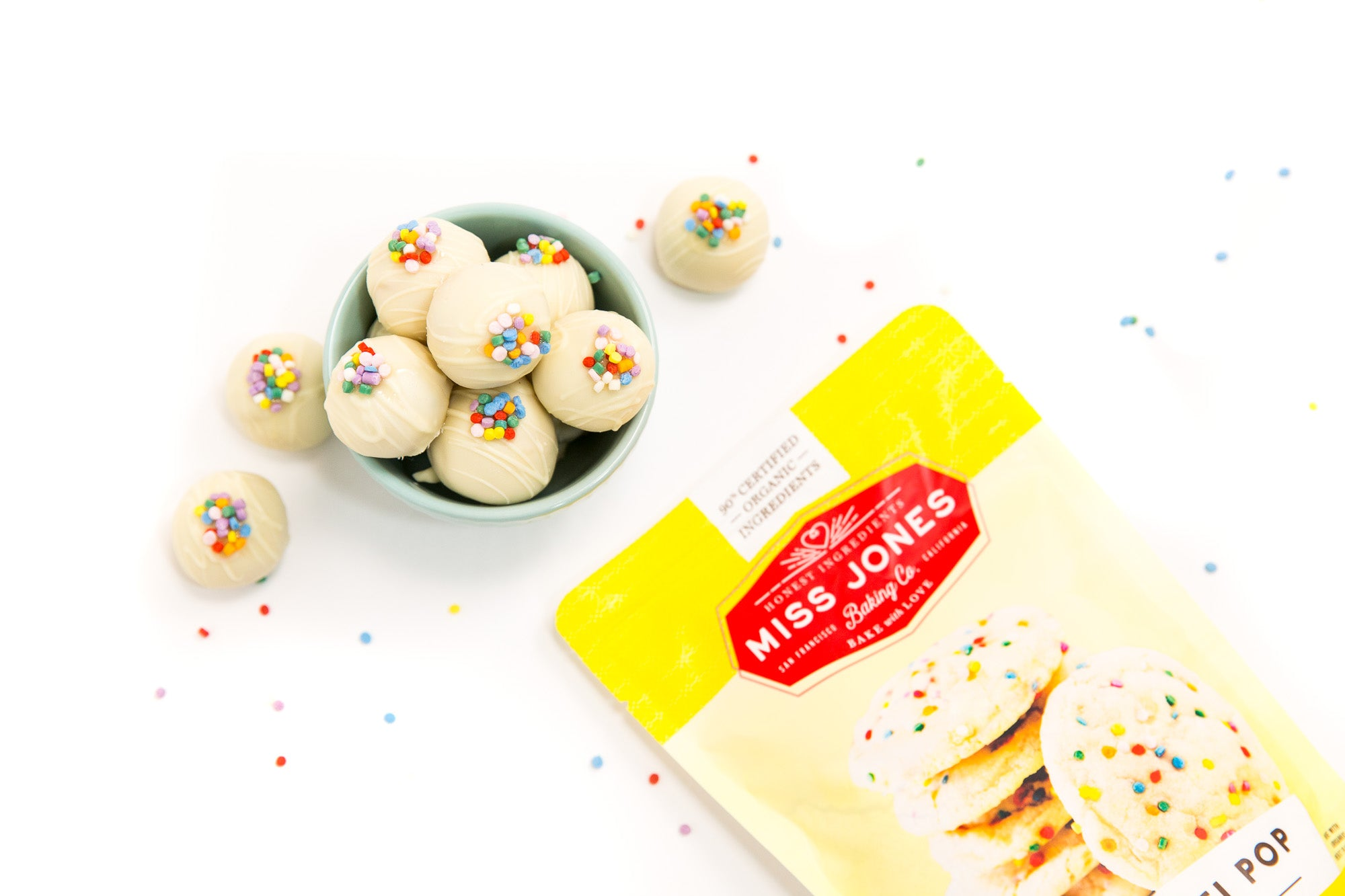 Picture of top of final Miss Jones Baking Co Confetti Pop Cookie Dough Bites in bowl