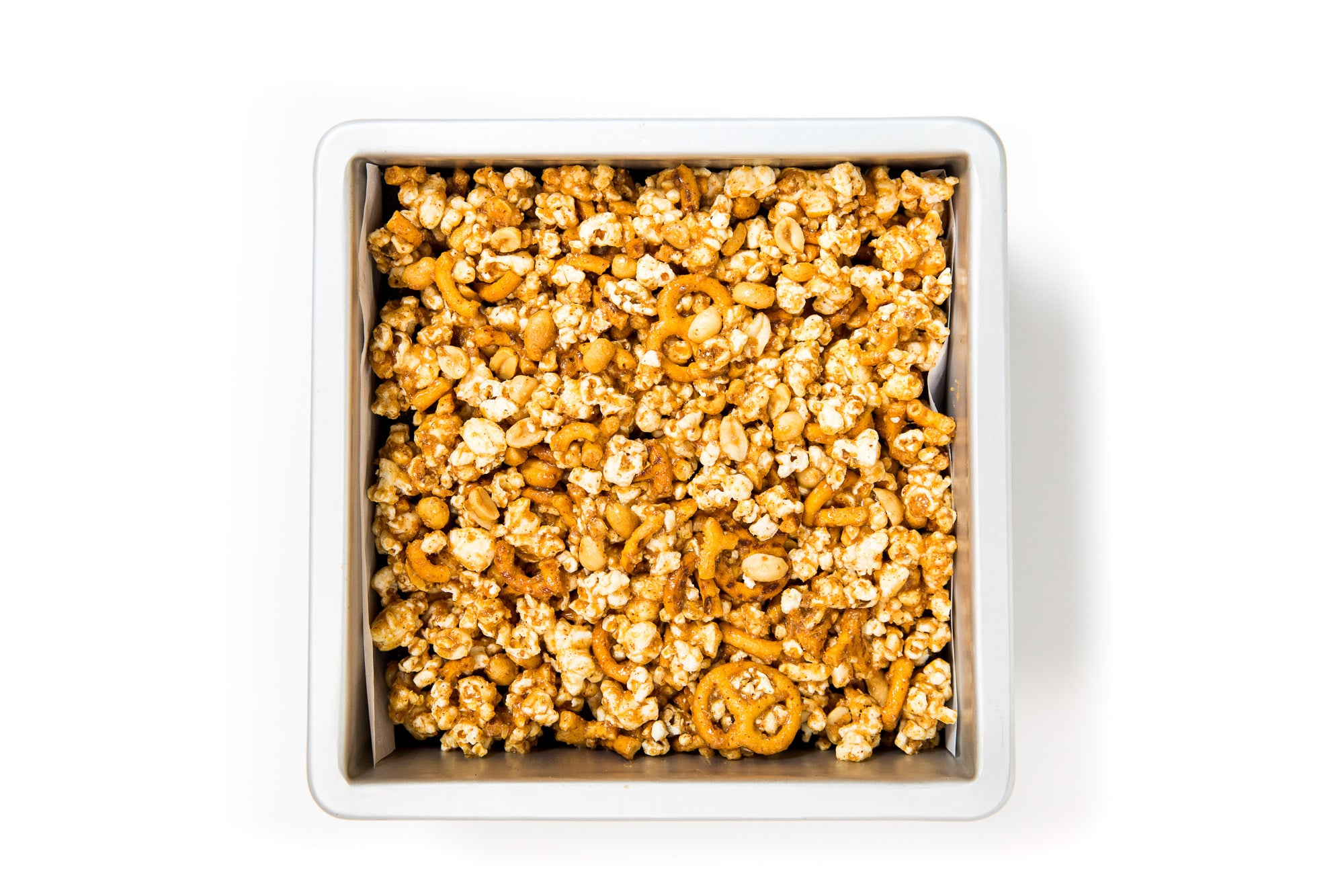Image from above of a baking pan with Miss Jones Baking Co Popcorn Brownies